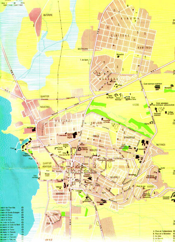 Detailed map of Bujumbura city. Bujumbura city detailed map.