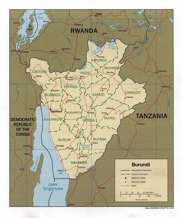 Detailed political and administrative map of Burundi.