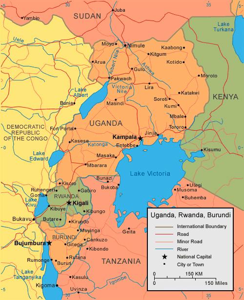 Detailed political map of Burundi Uganda Rwanda Burundi Uganda