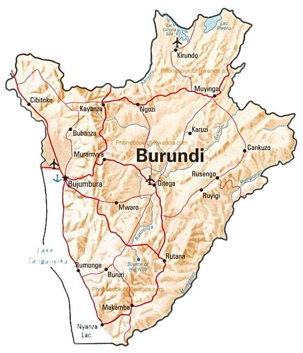 Detailed relief map of Burundi with roads. Burundi detailed relief map with roads.