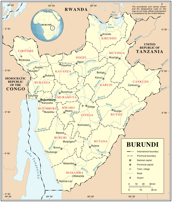 Large administrative and road map of Burundi.
