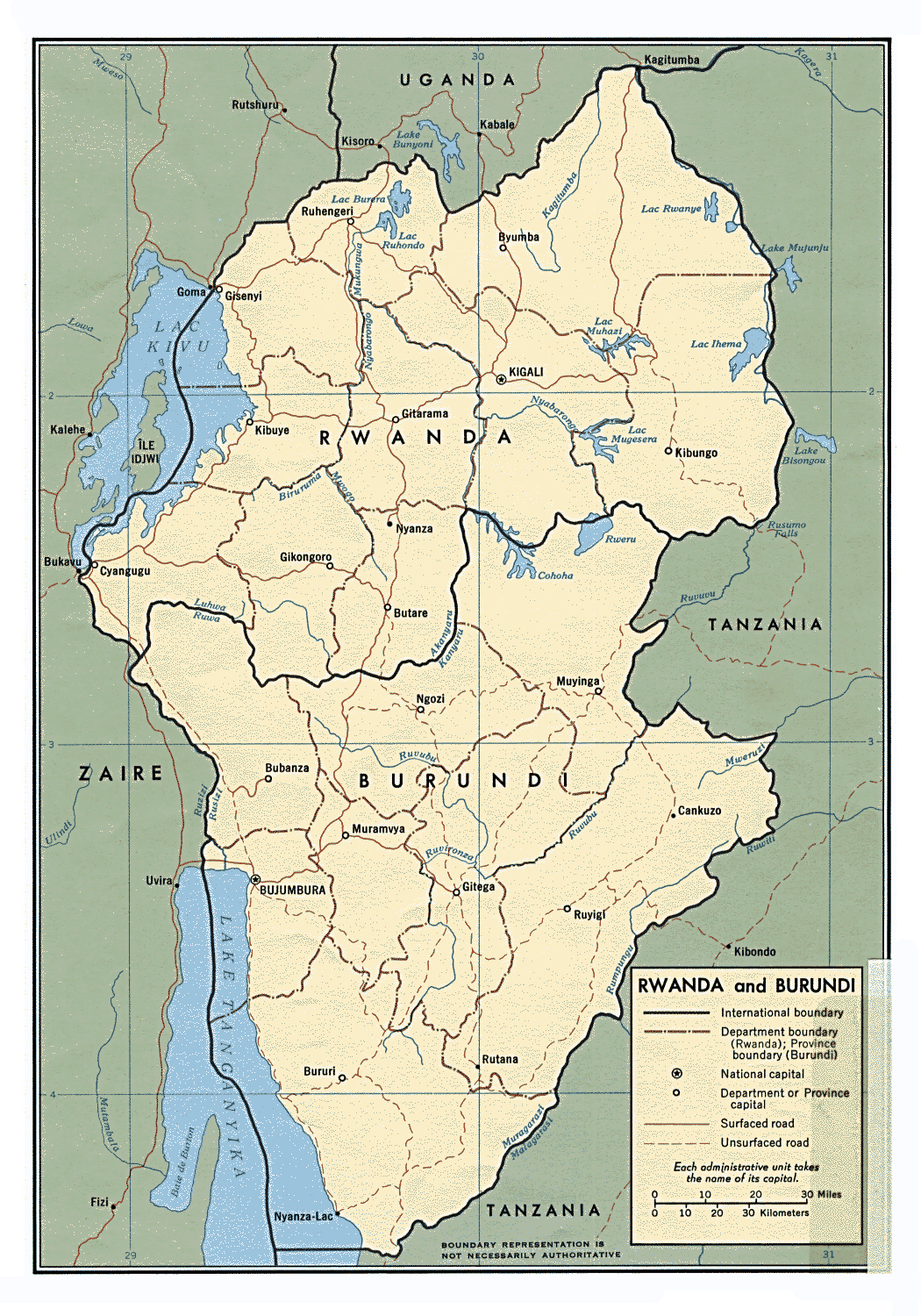 Large political map of Burundi and Rwanda with roads and cities