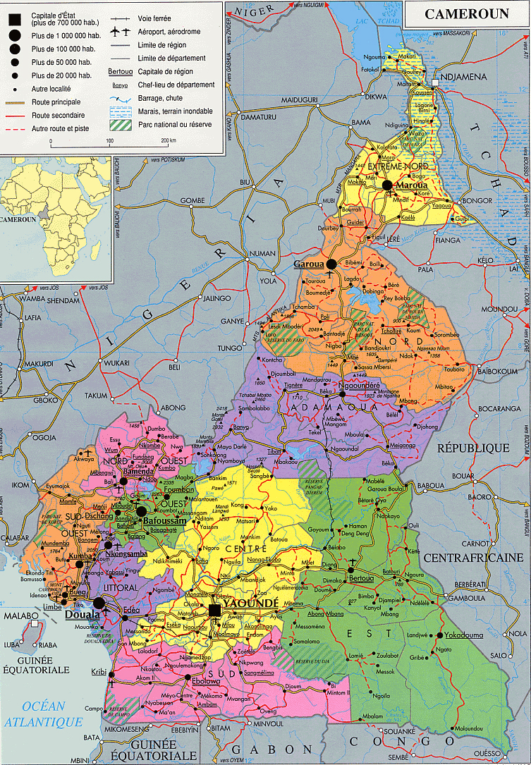 Cameroun detailed administrative and political map. Detailed ...