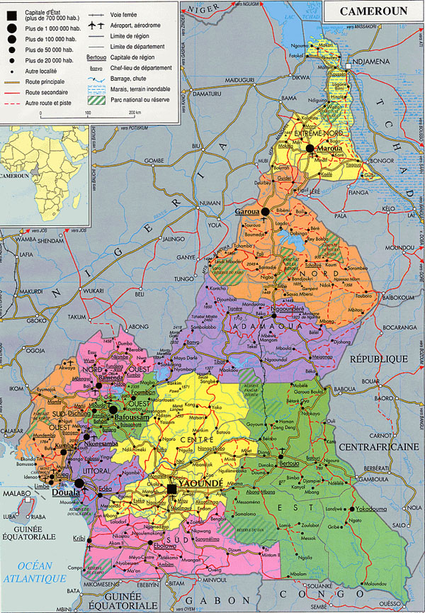 Cameroun detailed administrative and political map.