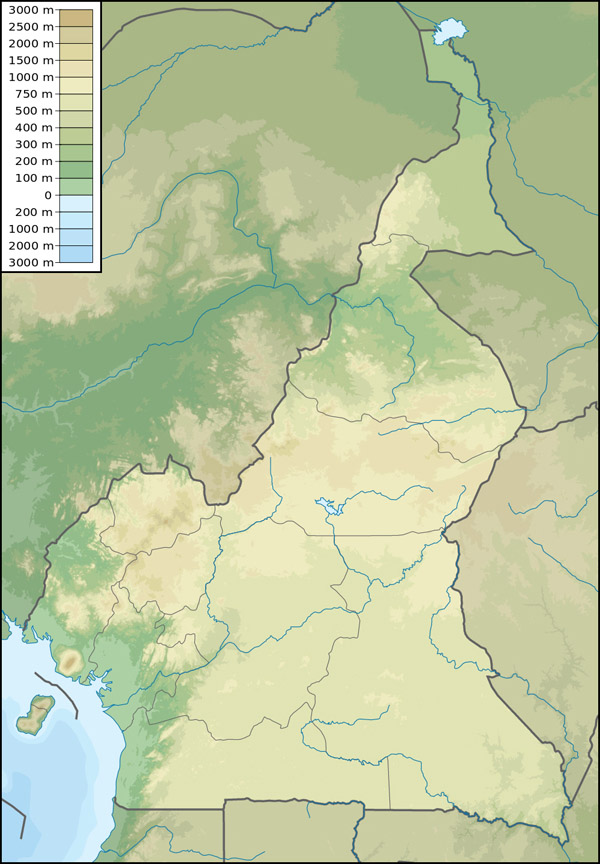 Detailed physical map of Cameroon. Cameroon detailed physical map.