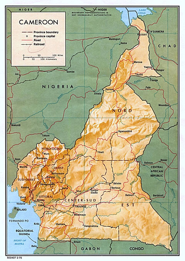 Detailed relief and administrative map of Cameroon.