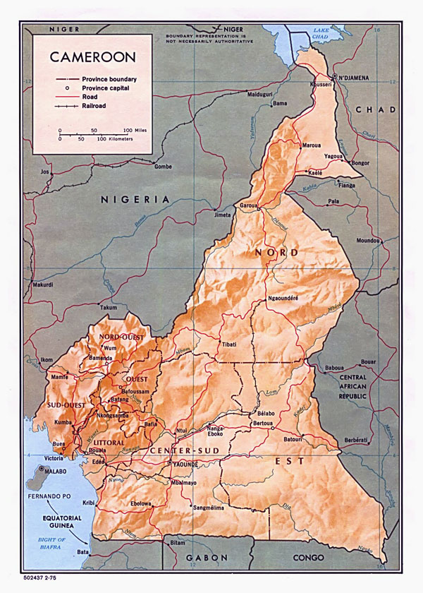 Detailed relief and administrative map of Cameroon with all cities and roads.