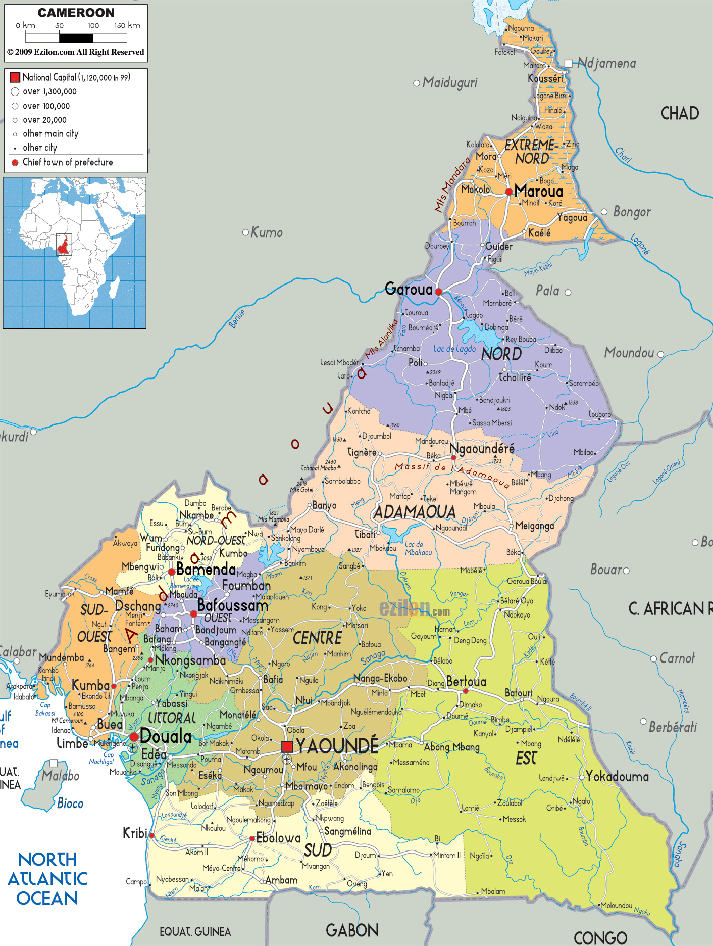 Large detailed administrative map of Cameroon with all roads, cities ...