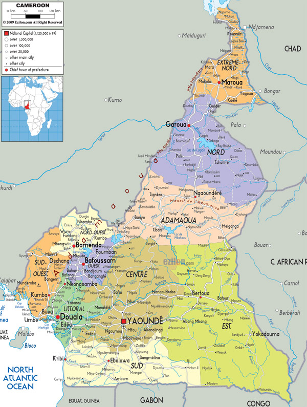 Large detailed administrative map of Cameroon with all roads, cities and airports.