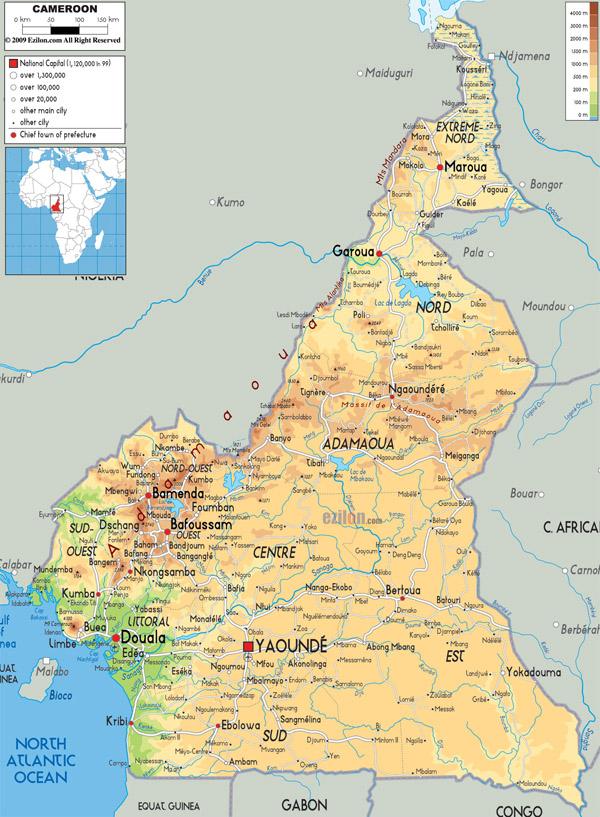Large detailed physical map of Cameroon with all cities, airports and roads.