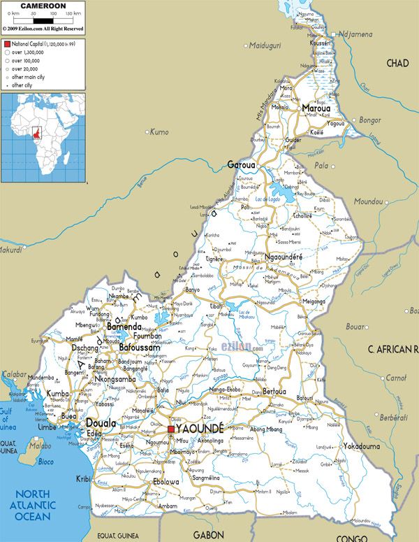 Large detailed road map of Cameroon. Cameroun large detailed road map.