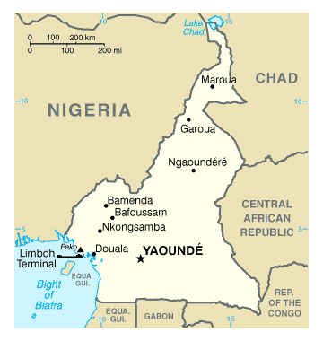 Map of Cameroon. Cameroun map.