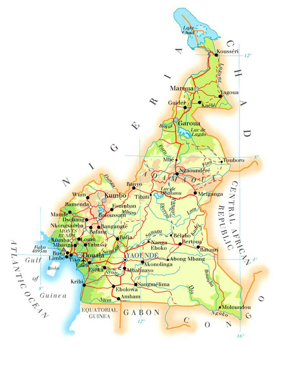 Physical and road map of Cameroon. Cameroun physical and road map.