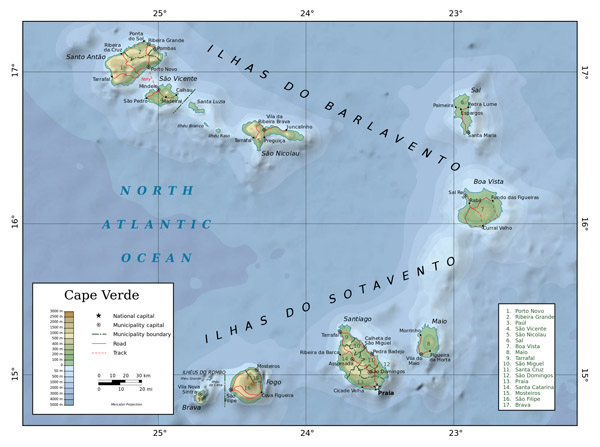 Detailed physical map of Cape Verde. Cape Verde detailed physical map.