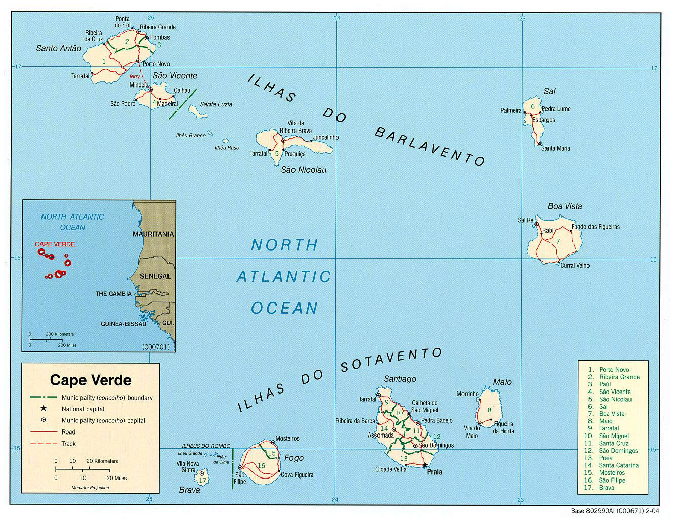 Detailed Political And Administrative Map Of Cape Verde With All - Cape verde map