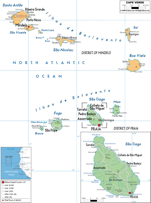 Detailed political and road map of Cape Verde.