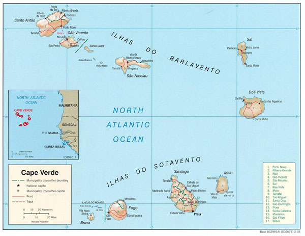 Detailed relief and political map of Cape Verde.