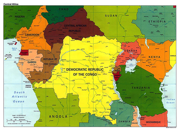 Large political map of Central Africa - 1997.