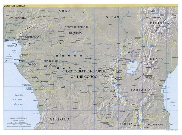 Large political map of Central Africa with relief - 2001.