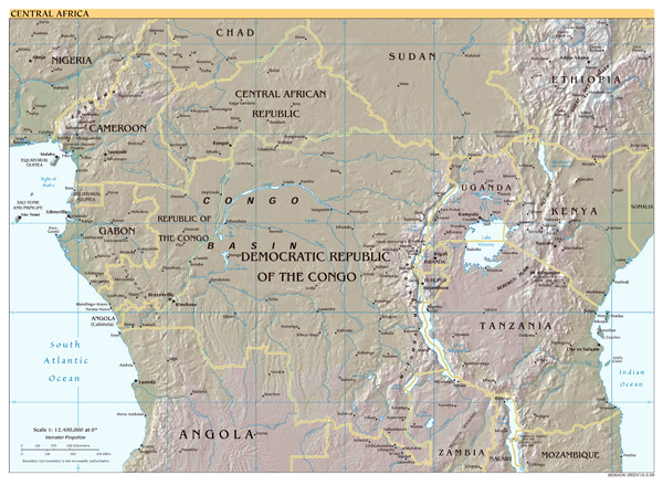 Large scale political map of Central Africa with relief - 1999.