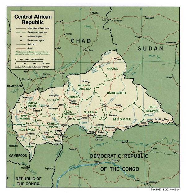 Detailed administrative map of Central African Republic with cities and highways.