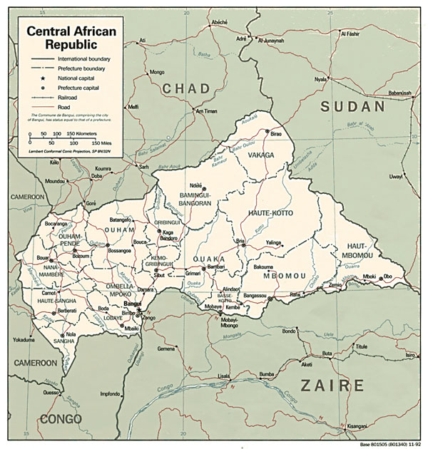 Detailed political and administrative map of Central African Republic.