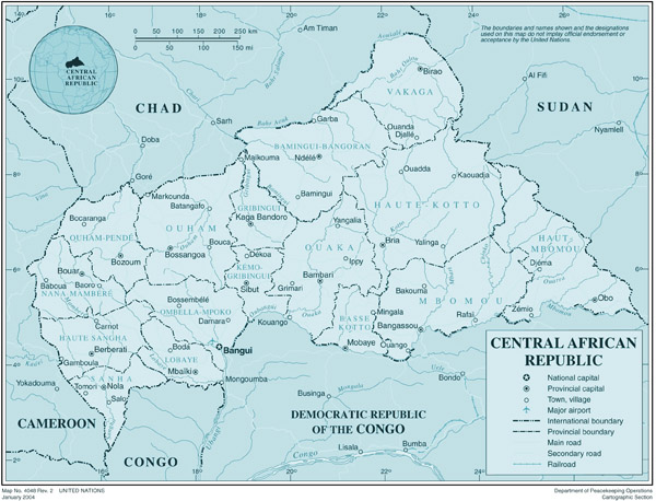 Detailed political and administrative map of Central African Republic with all cities and airports.