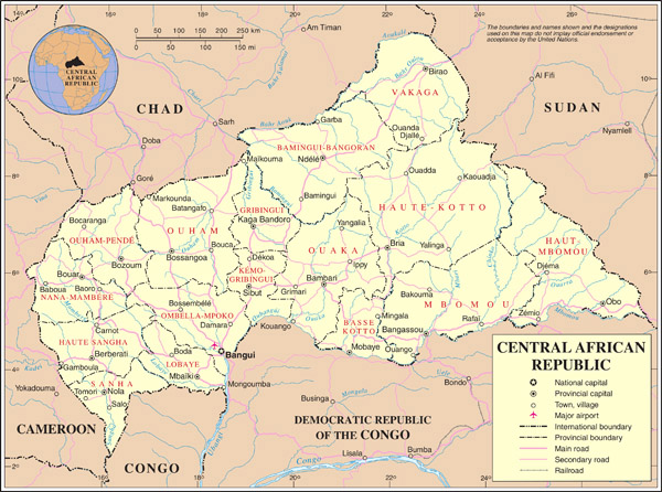 Detailed political and administrative map of Central African Republic with all cities, roads and airports.