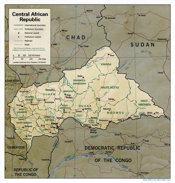 Detailed relief and political map of Central African Republic.