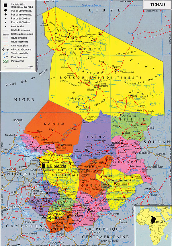 Detailed administrative map of Chad with roads.
