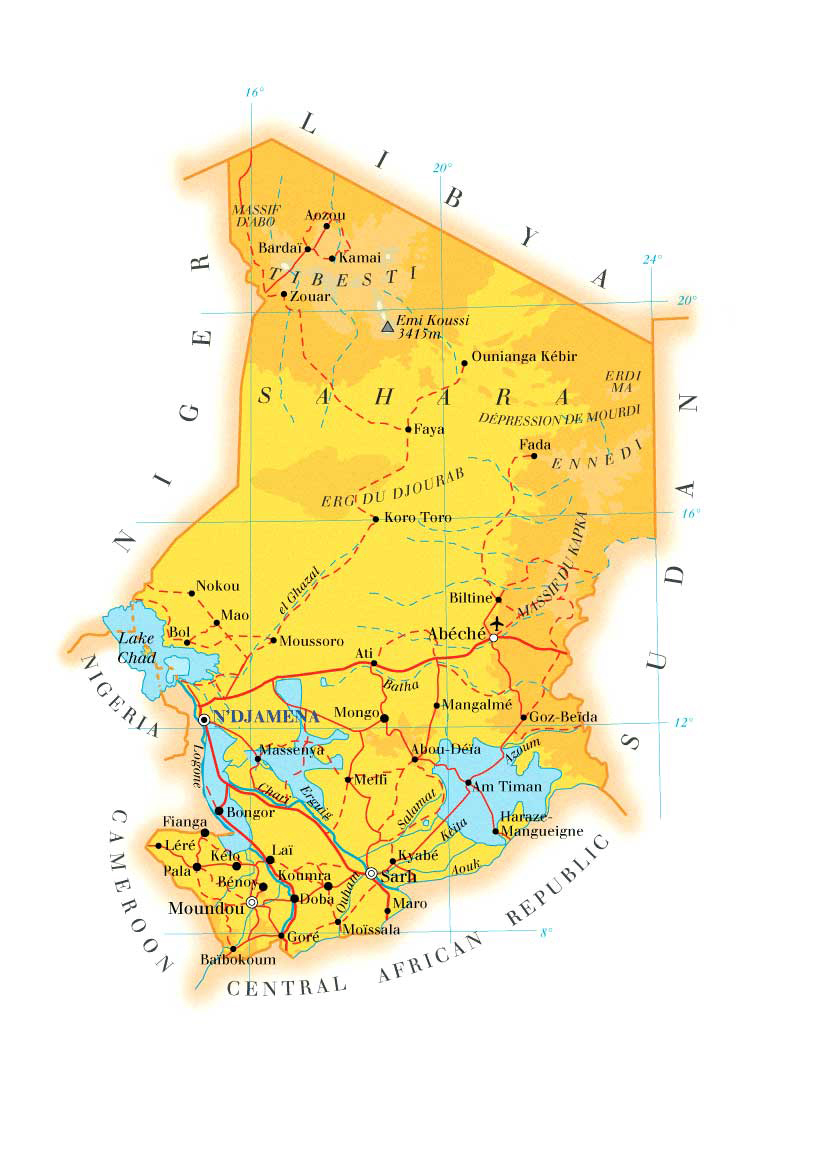 Detailed physical and road map of Chad. Chad detailed physical and ...