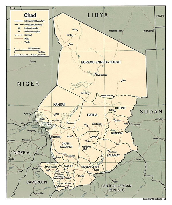 Detailed political map of Chad. Chad detailed political map.