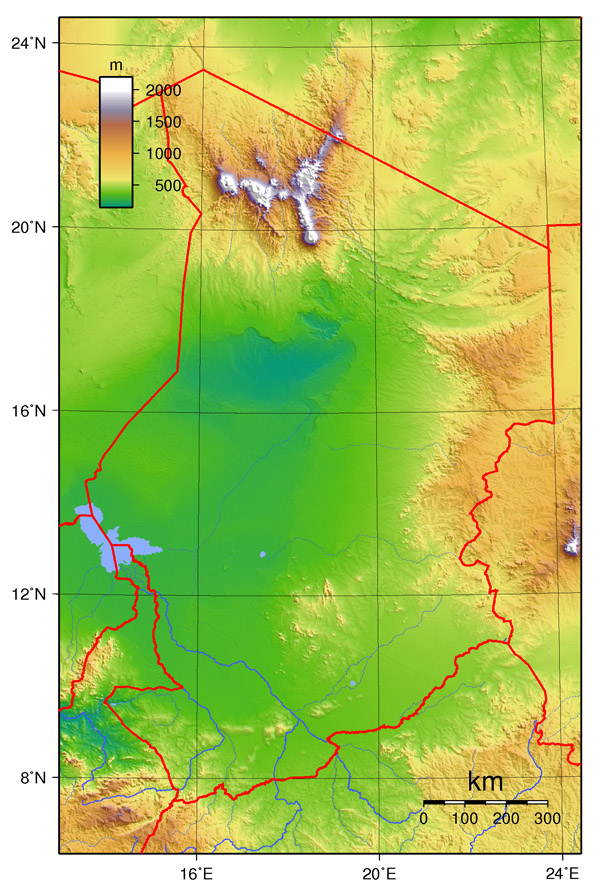Detailed topographical map of Chad. Chad detailed topographical map.