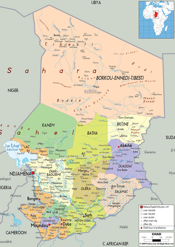 Large detailed administrative map of Chad with all cities, roads and airports.