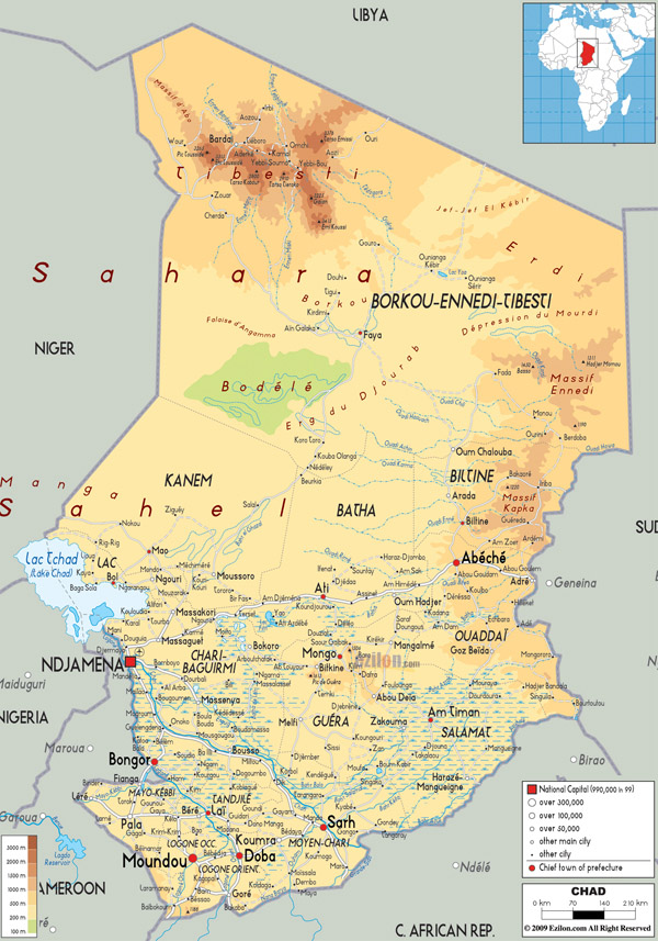 Large detailed physical map of Chad with all cities, roads and airports.