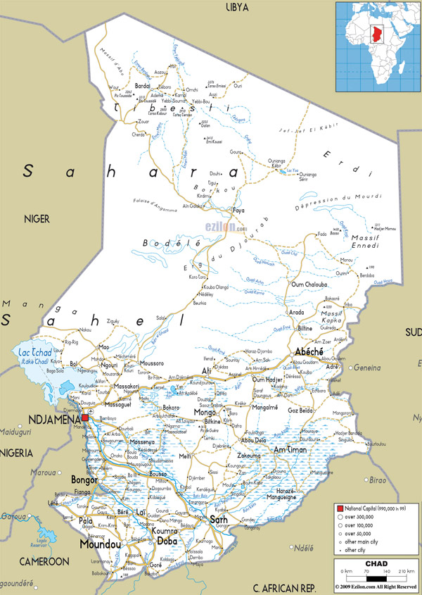 Large detailed road map of Chad with all cities and airports.