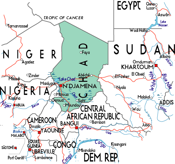Political map of Chad. Chad political map.