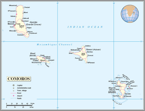 Detailed political map of Comoros and Mayotte with cities, roads and airports.