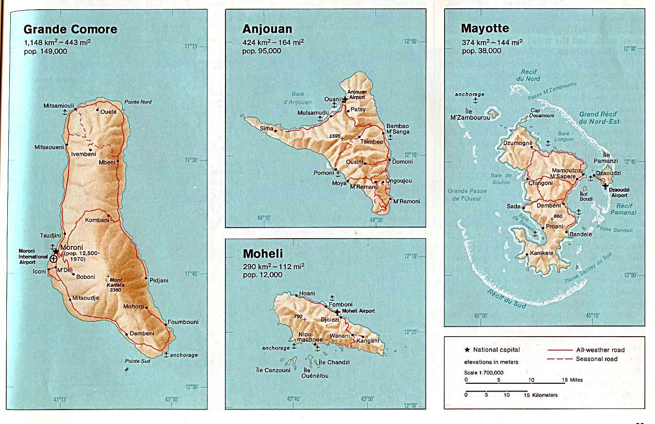 Detailed relief and road map of Comoros and Mayotte Comoros and