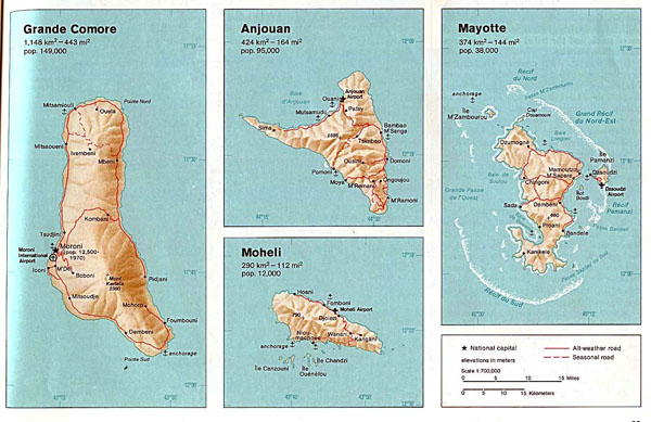 Detailed relief and road map of Comoros and Mayotte.