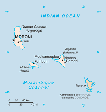 Map of Comoros and Mayotte. Comoros and Mayotte map.