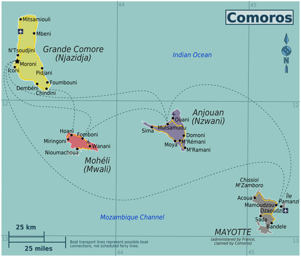 Political map of Comoros and Mayotte with cities, roads and airports.