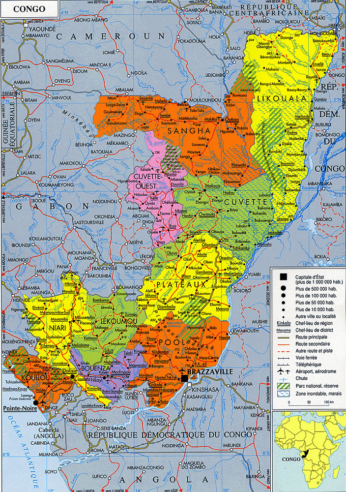 Detailed administrative map of Congo. Congo detailed administrative map.