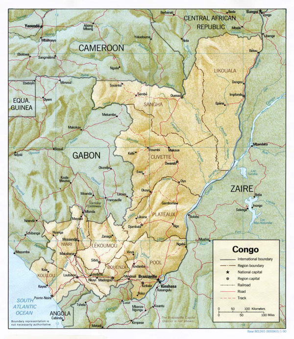 Detailed relief and administrative map of Congo.
