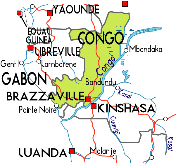 Schematic political map of Congo. Congo schematic political map.