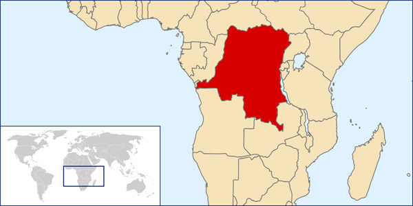 Congo Democratic Republic detailed location map.