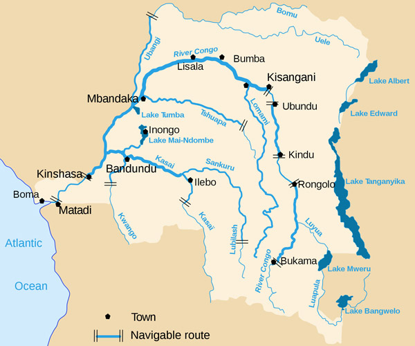 Congo Democratic Republic detailed map of river and lakes.