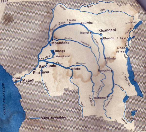 Detailed map of river and lakes of Congo Democratic Republic.