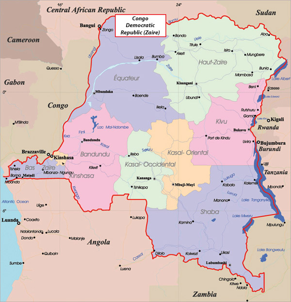 Detailed administrative map of Congo Democratic Republic.