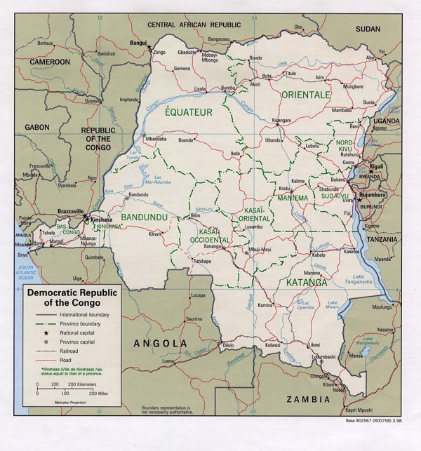 Detailed political and administrative map of Congo Democratic Republic.